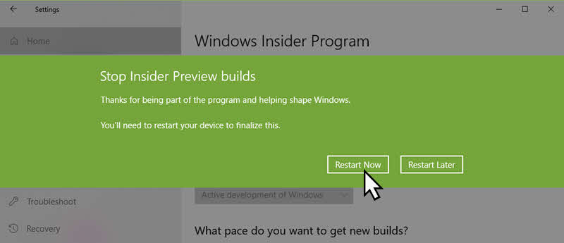 How to stop receiving insiders preview build on Windows 10?