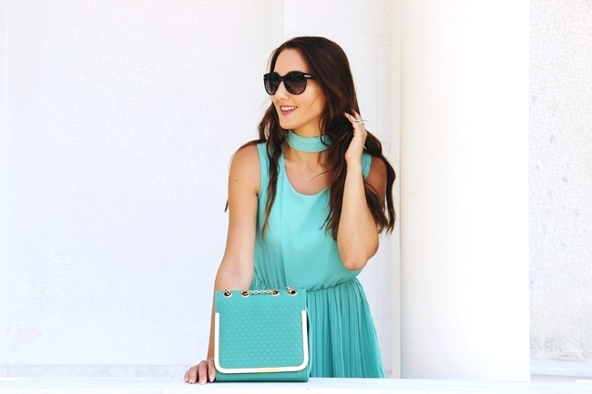 Mint green dress and mint green chain purse