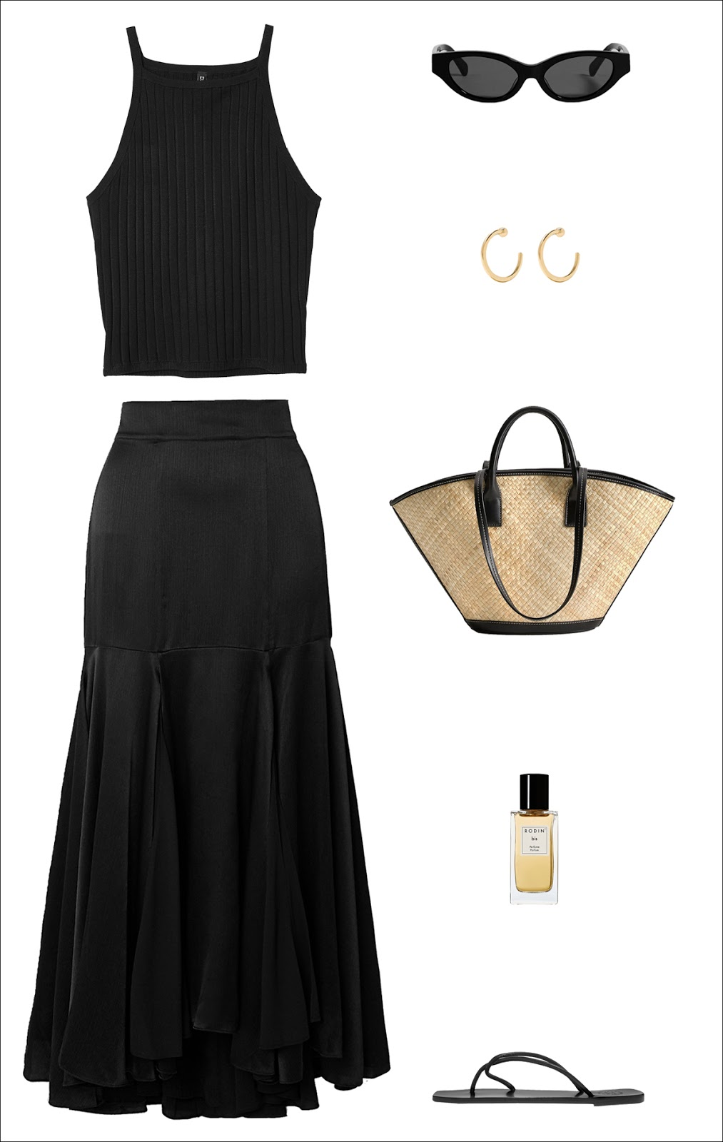 All-Black Minimalist Summer Outfit Idea: ribbed tank top, cat-eye sunglasses, simple hoop earrings, an elevated straw tote, silk midi skirt, and strappy flat sandals