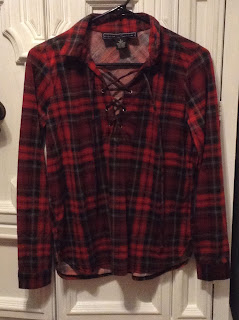 lace up red plaid shirt