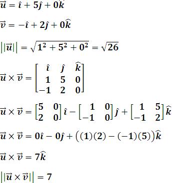Magnitud del vector u y del producto vectorial de u y v