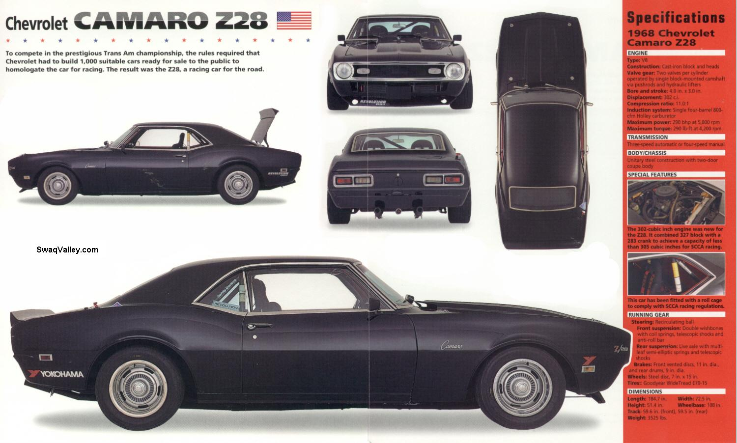 All About Muscle Car 1968 Chevrolet Camaro Description Rs Black Z28 Selling Brocure And Detil Features
