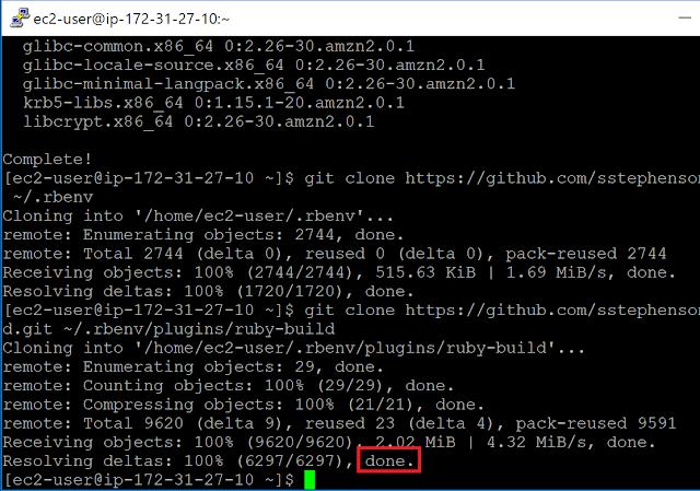 Amazon Linux 2 Gitリポジトリのクローン完了2