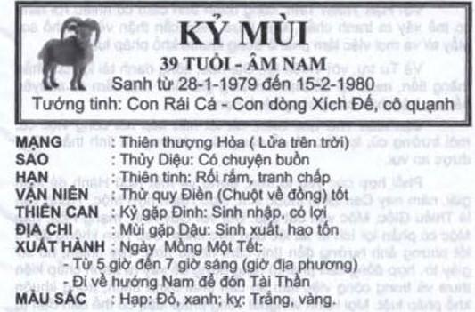 TỬ VI TUỔI KỸ MÙI 1979 NĂM 2017