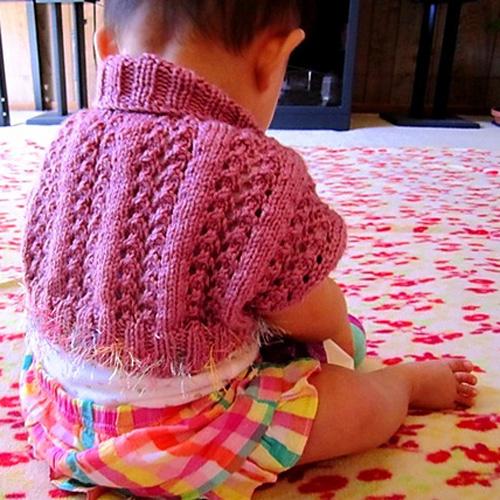Diamonds Rib Lace Baby Shrug - Free Pattern