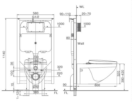 Thông số kỹ thuật bồn cầu âm tường Inax C-23PVN