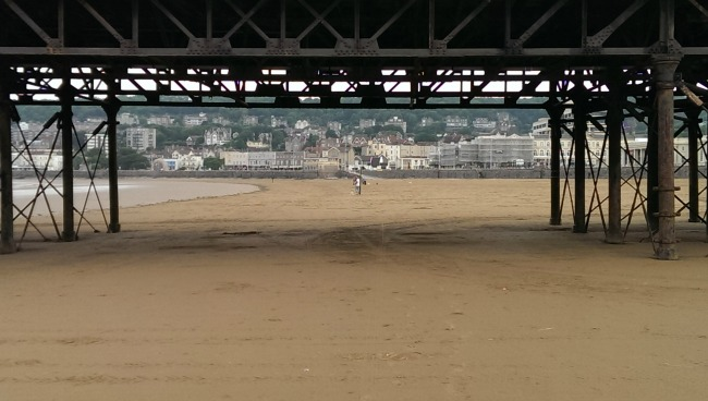 Mini-Breaks-and-Den-Building-Weston-super-mare-beach-under-grand-pier