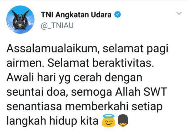 """Ucapan """"Assalamualaikum"""" Akun TNI AU Diprotes, Ini Reaksi Warganet"""