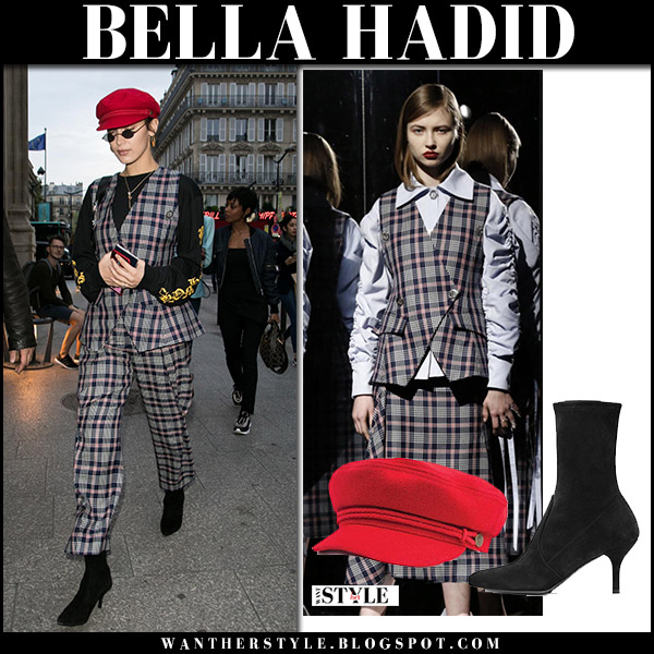 Bella Hadid in grey plaid jacket, grey plaid pants and black booties in Paris september 29 2017 fashion week outfit