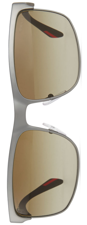 Prada Rectangular Metal Sunglasses, Gunmetal