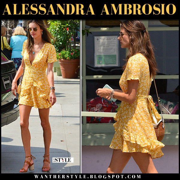 Alessandra Ambrosio in yellow floral print frill mini dress ale by alessandra model summer style august 16