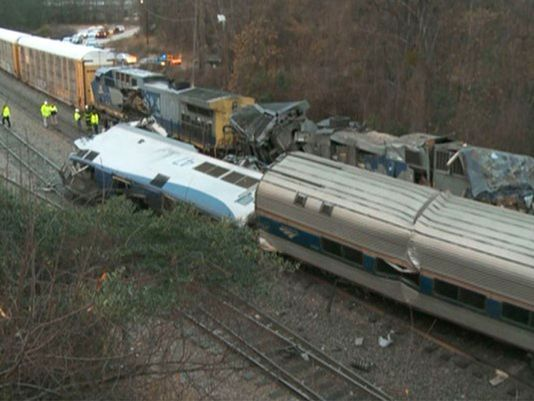 Amtrak train on wrong track collides with freight train; 2 dead, 116 injured