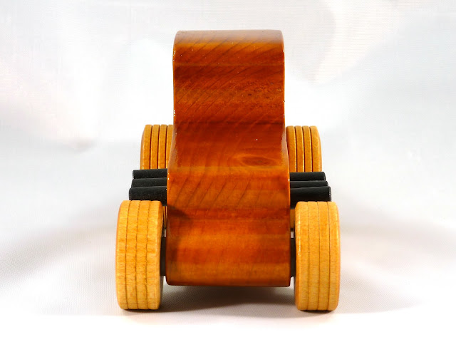 Front - Wooden Toy Car - Hot Rod Freaky Ford - 37 T Coupe - Pine - Amber Shellac - Metallic Green Hubs