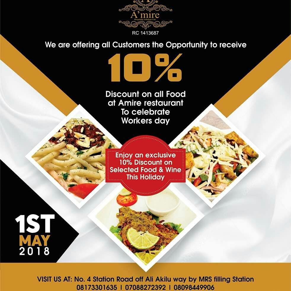 A Mire Restaurant Offers 10 Discount On All Purchase On 1st