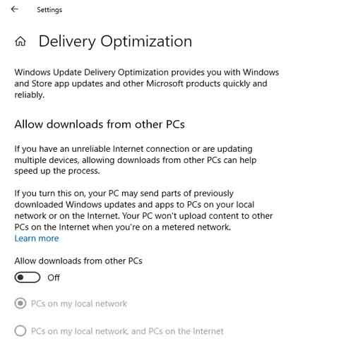 menonaktifkan delivery optimization windows 10