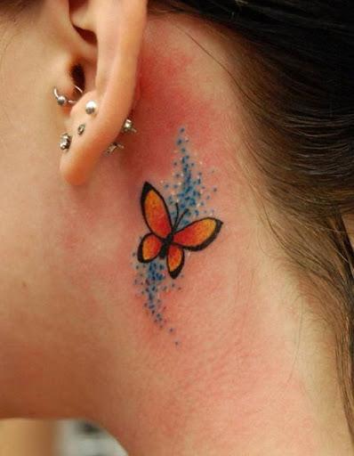 Laranja Tatuagem de Borboleta Azul com Brilhos