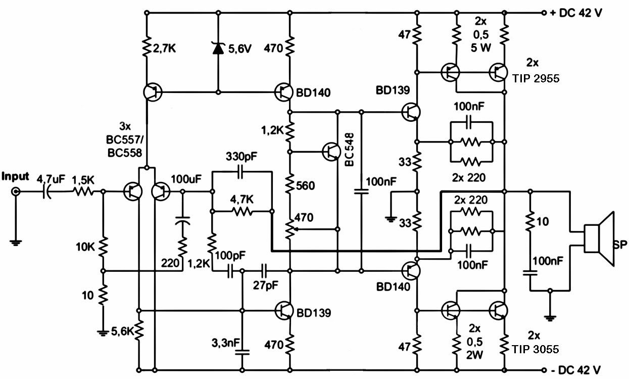Wiring Schematic diagram: 300W Subwoofer Power Amplifier