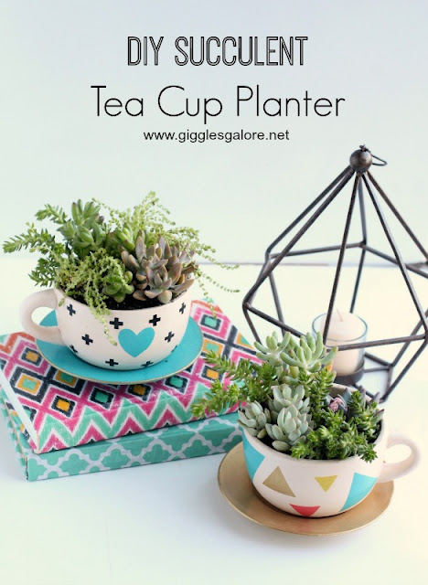 DIY Tea Cup Succulent Planter  |  Giggles Galore  on fg2b
