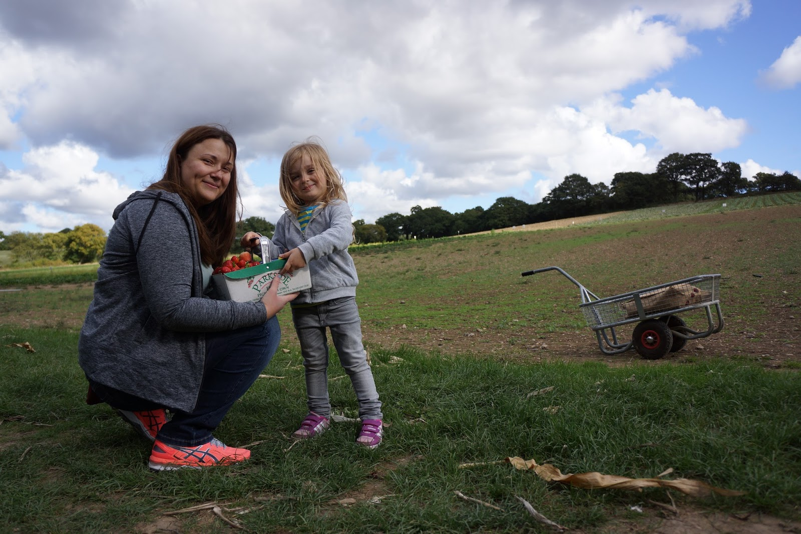 mum and daughter holding a basket of strawberries on a field