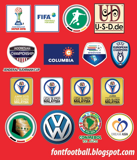 FONT FOOTBALL: Patch Badge Vector Fifa Club World Cup 2016 (Real Madrid vs Kashima Antlers ...