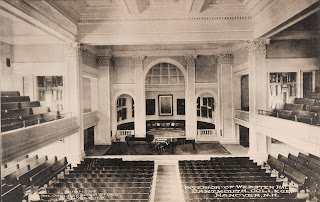 A postcard showing the interior of Webster Hall.