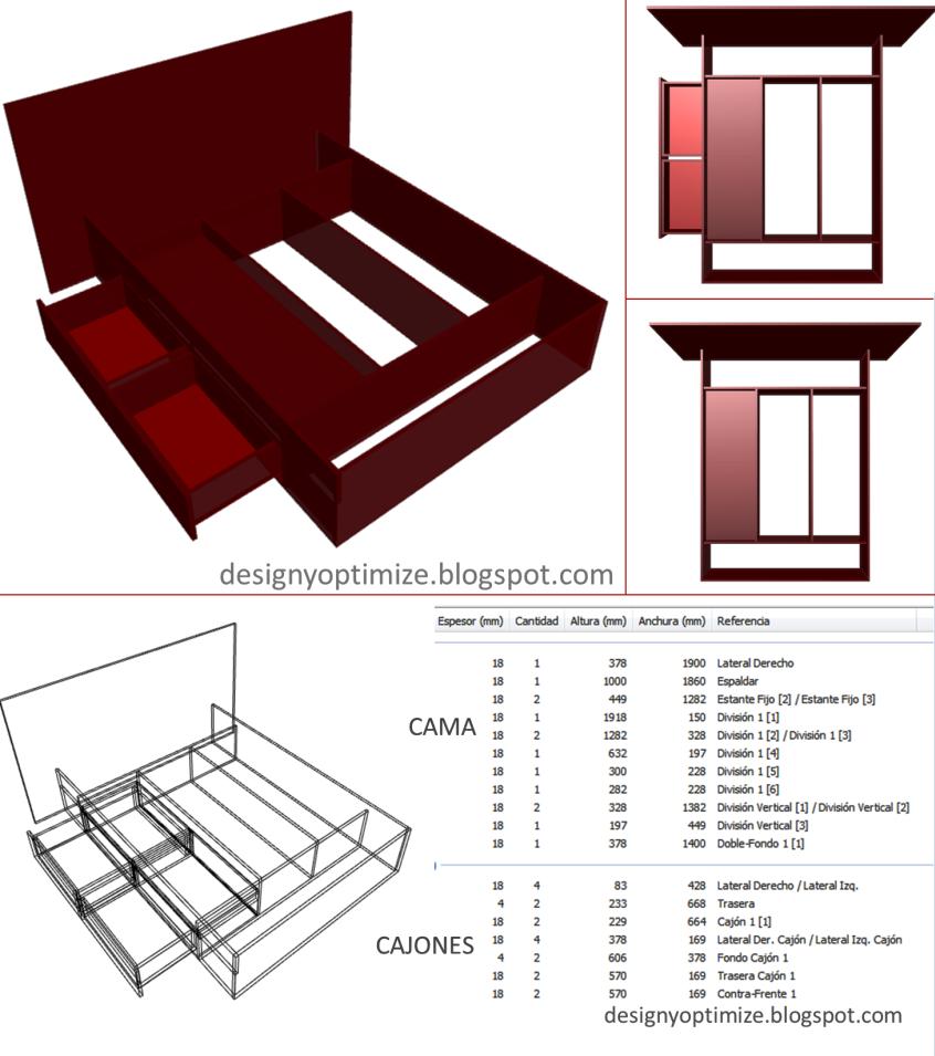 Dise o de muebles madera planos para crear construir o for Como hacer una cama con cajones