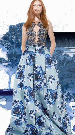 Patricia Bonaldi vestido de festa verão 2016 com corpo bordado com pedras e saia pregueada e estampada com maxi flores