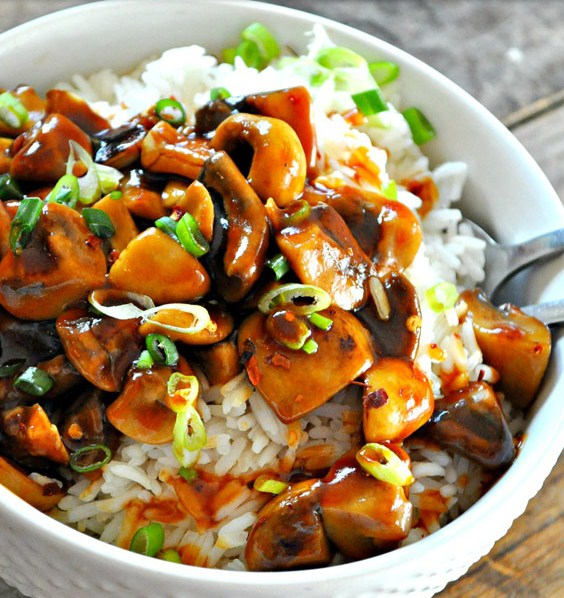 Vegan Bourbon Mushrooms and Rice