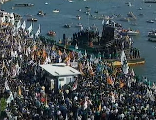 Lega Nord supporters gathered in Venice as Bossi made his 1996 'declaration of independence' from a floating pontoon