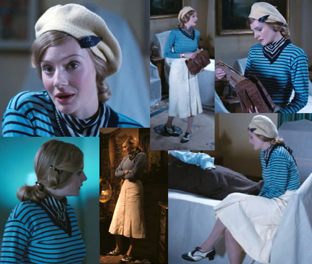 Glorious 39 Fashions - Anne wears A simple blue and black striped jumper paired with cream skirt and cream beret