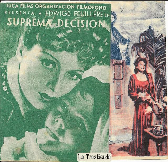 Programa de Cine - Suprema Decisión - Edwige Feuillère - Georges Rigaud