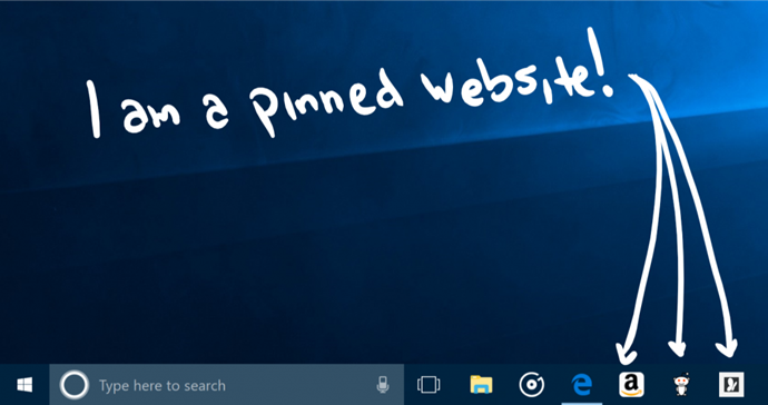 Pinned website feature of Microsoft Edge on Windows 10 Fall Creators Update (www.kunal-chowdhury.com)