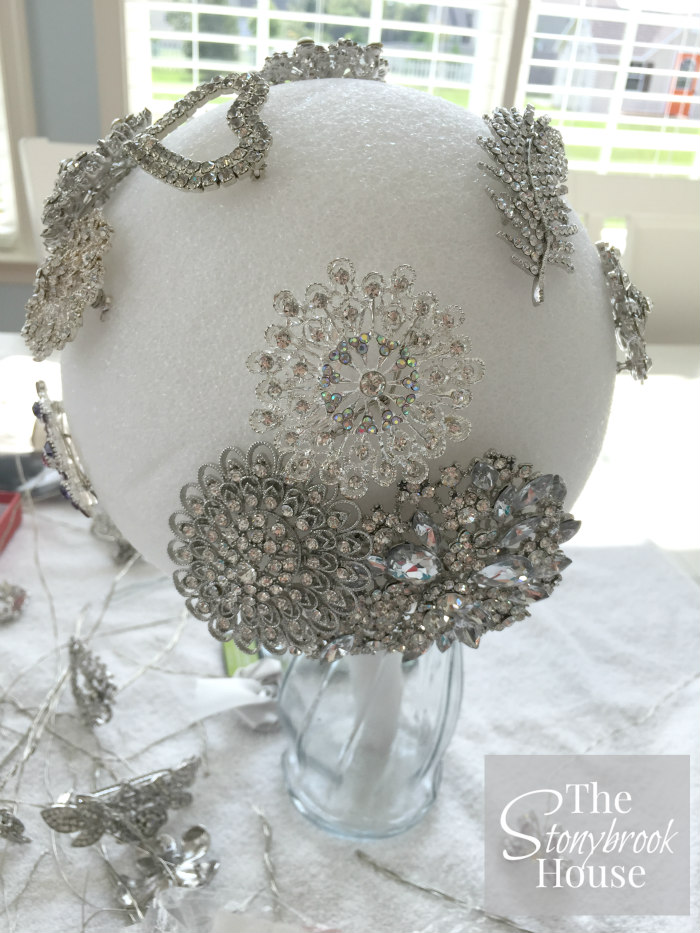 Attaching Brooches to make a Brooch Bouquet