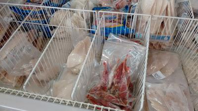 Frozen fish in a Typical Greek Supermarket.