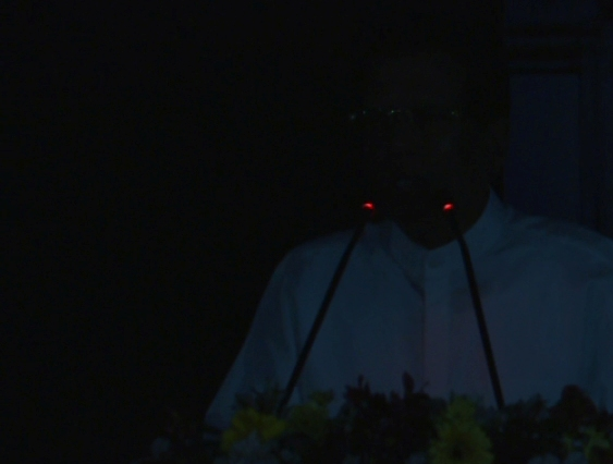 The President addressed the ceremony when power is switched off