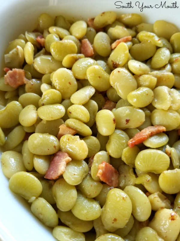 Country-Style Baby Lima Beans | A no-fail Southern recipe for tender baby lima beans (butterbeans) cooked low and slow with bacon.