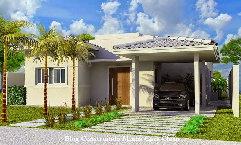 Construindo minha casa clean fachadas de casas t rreas for Fachadas de casas de tres pisos pequenas