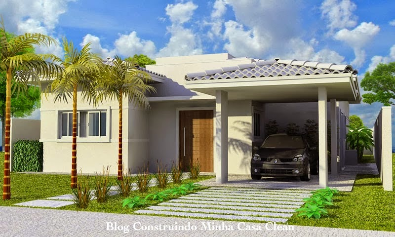 Construindo minha casa clean fachadas de casas t rreas for Casas modernas simples