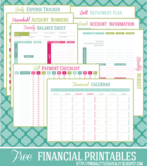 Free budget printables from pinch a little save a lot