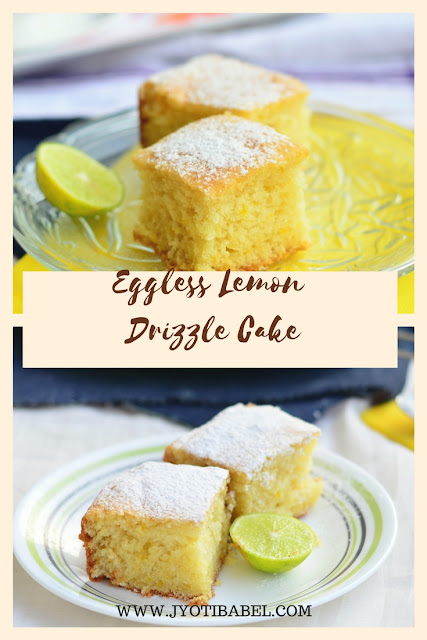 Soft, fluffy, lemony, tangy. It is perhaps the best Eggless Lemon Drizzle Cake recipe.