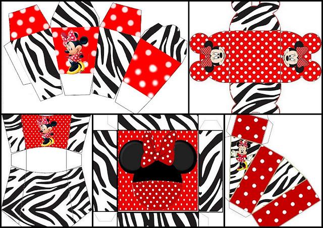 Minnie Cebra y Rojo: Cajas para Imprimir Gratis.