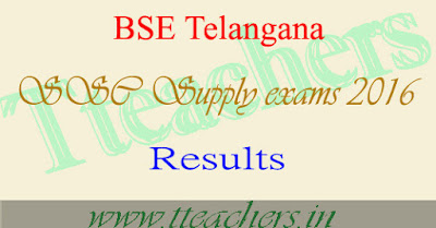 TS 10th Supply Results 2016 ssc supplementary result announced telangana