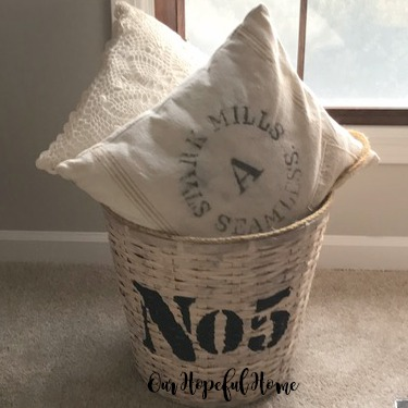 thrifted basket stencil storage pillow