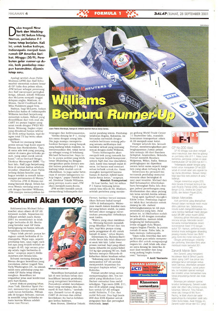 MENJELANG GP AS WILLIAMS BERBURU RUNNER-UP