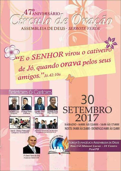bdc21e31409c A igreja evangélica Assembleia de Deus do Sitio Serrote Verde município de  Baraúna-PB, realiza a tradicional festa de aniversario de 47 anos de  existência ...