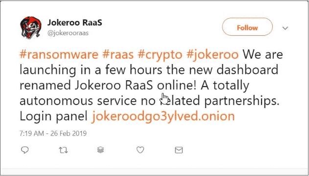 Jokeroo - mã độc mã hoá tống tiền phát triển theo mạng lưới dịch vụ chuyên nghiệp - CyberSec365.org
