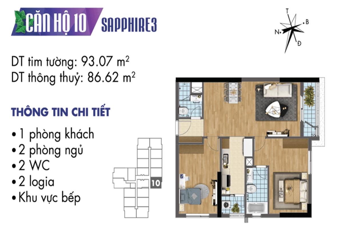 Mặt bằng căn hộ 10 Sapphire 3