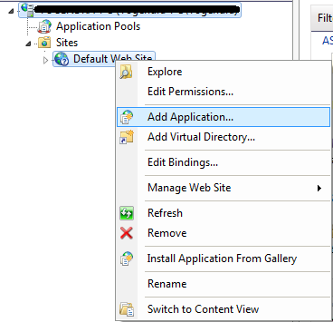 Add new application on IIS