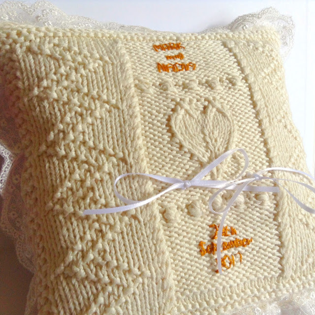 Knitted ring cushion using King Cole Bamboo Cotton
