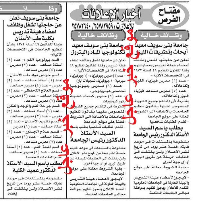 """اعلان وظائف الجامعات المصرية """" عين شمس - المنوفية - بنى سويف """" بجريدة الاخبار"""